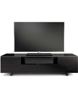 BDI BDI Nora 8239 B,  TV- Cabinet, Gloss Black with Grey tinted glass doors