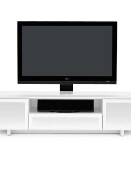 BDI BDI Nora 8239 W,  TV- Cabinet, Gloss White with White micro-etched glass doors