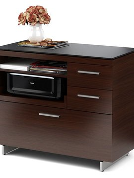 BDI BDI Sequel 6017 CWL, Multifunction Cabinet with Two Storage Drawers & Pull-out Printer Tray, Chocolate Stained Walnut