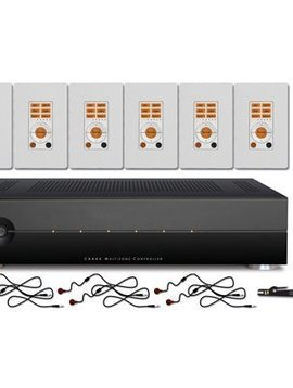 Russound 6 Zone/ 6 Source Controller Kit, White & Almond Wall Plates, includes IR Emitters, Audio Jumpers & Handheld Remote
