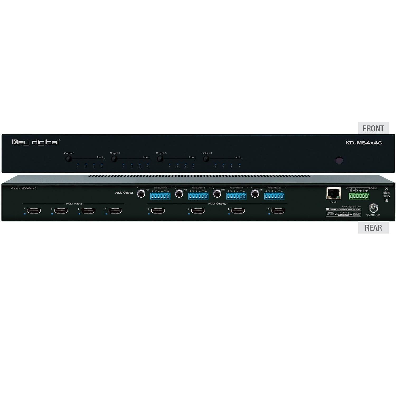 Key Digital 4 x 4 4K/18G HDMI Matrix Switch