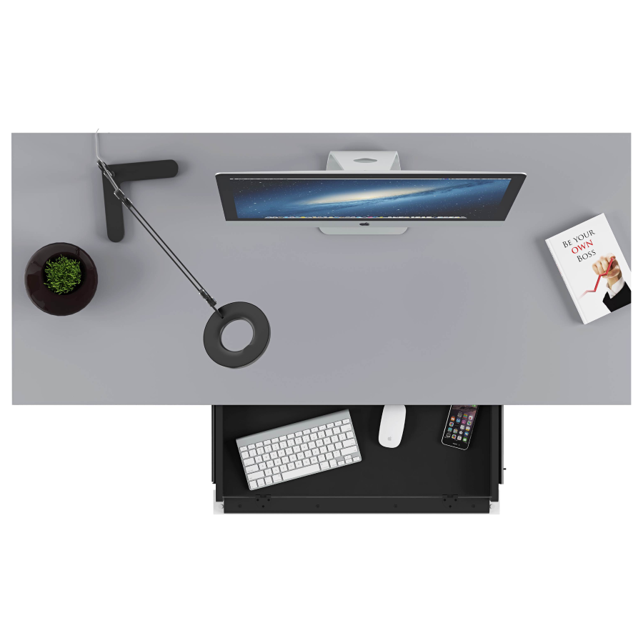 BDI Centro 6401, Desk with keyboard drawer, Satin White with Grey Glass