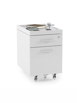 BDI Centro 6407 Two-drawer Mobile File Pedestal with Sliding Top Tray