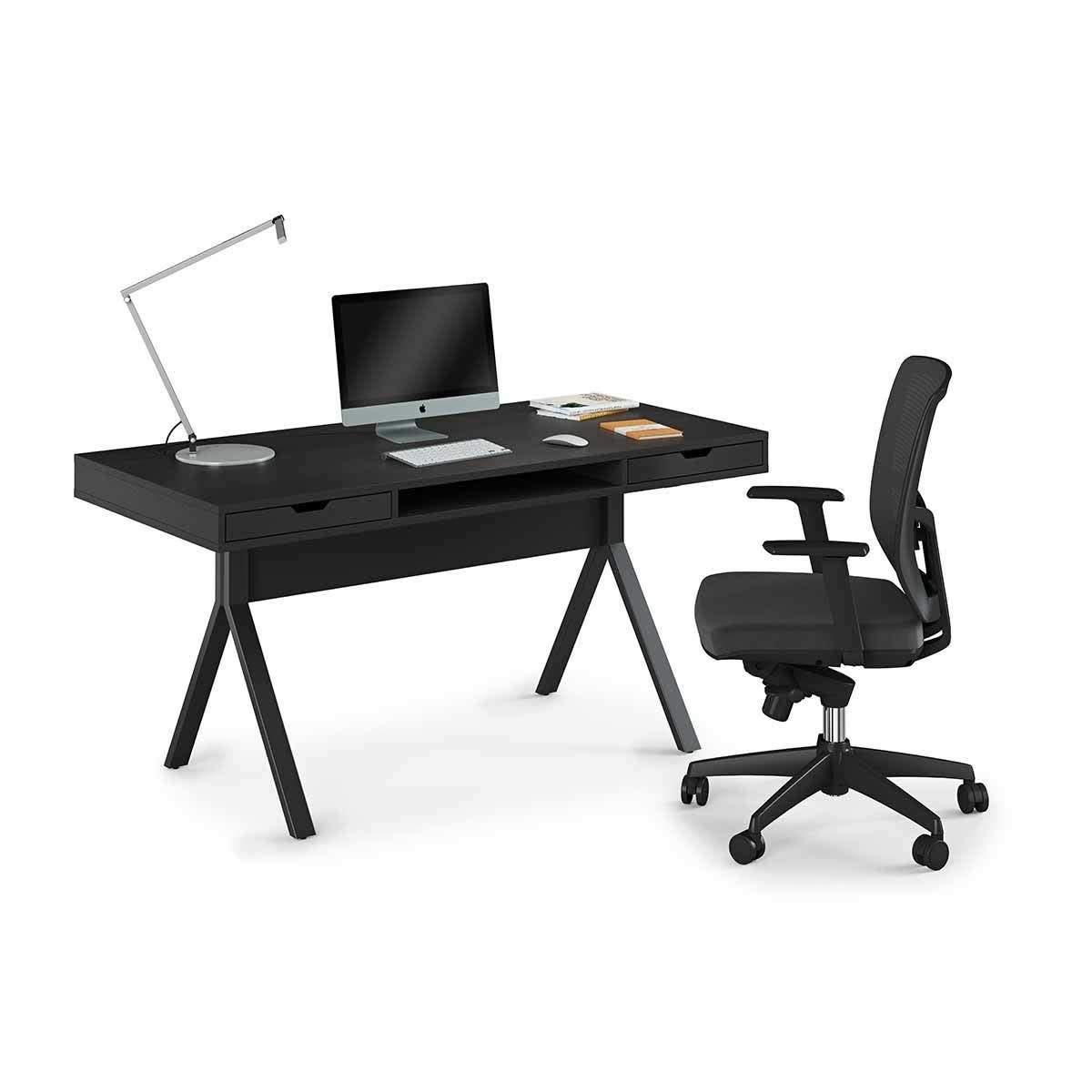 BDI Modica 6341 Desk with Open Center Compartment and Two Side Storage Drawers