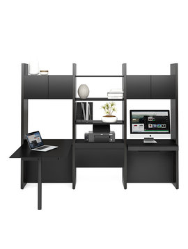 BDI Semblance 5413-PD, Three-section office system with Inline Desk & Peninsula Desk