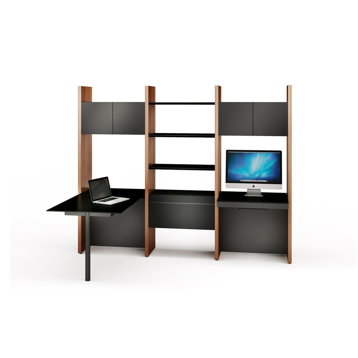 BDI Semblance 5413-PD Three-section office system with Inline Desk & Peninsula Desk