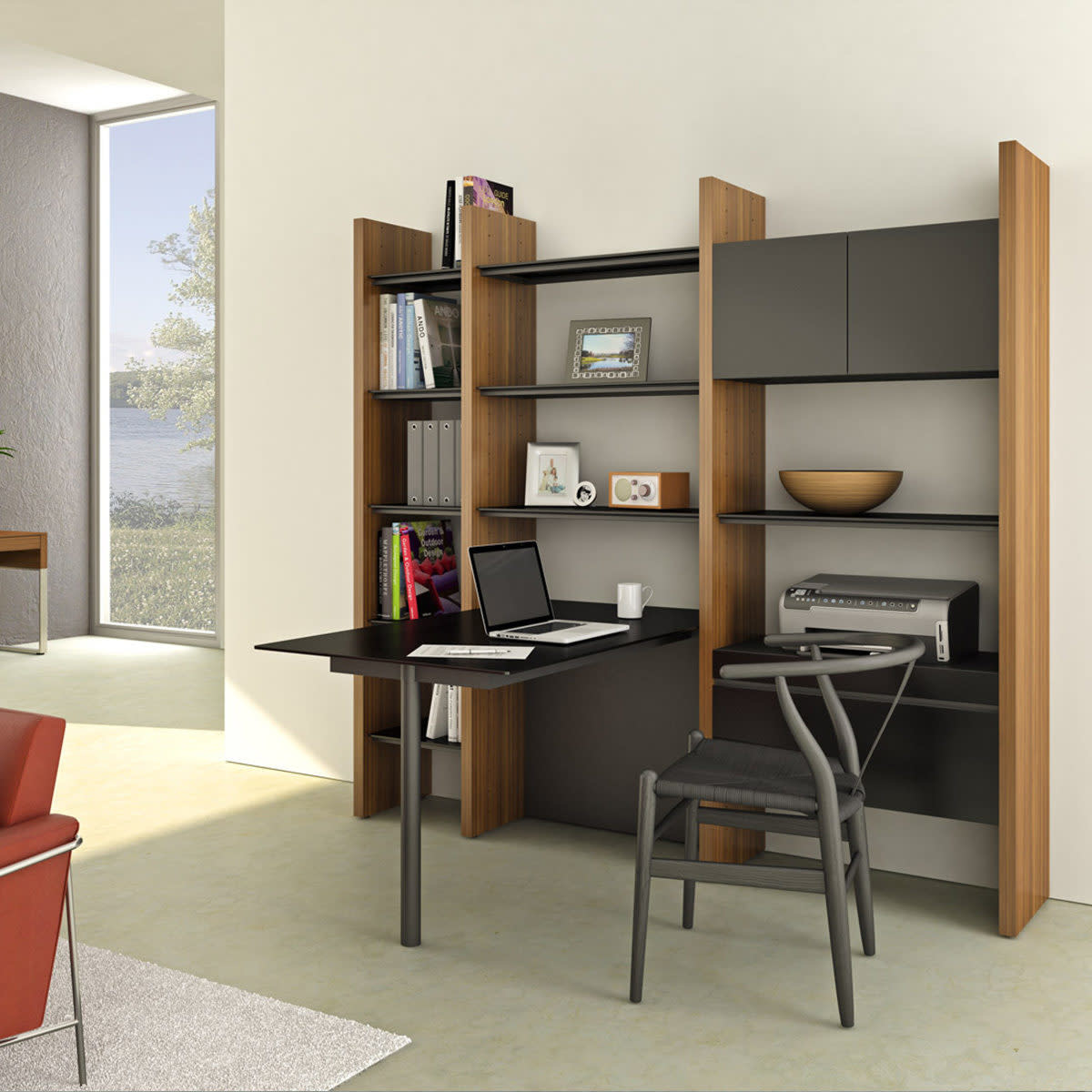 BDI Semblance 5413-PN Three-section Office System with Peninsula Desk