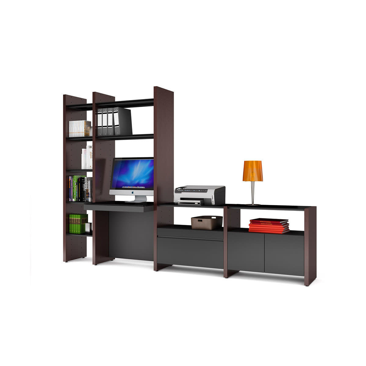 BDI Semblance 5464-DK Four-section Office System with Inline Desk