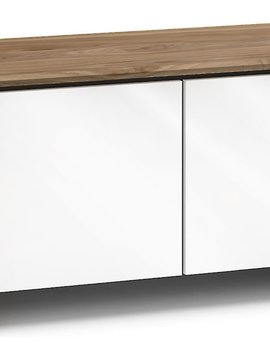 Salamander Designs Barcelona 221 AV Cabinet, Natural Walnut & Gloss White