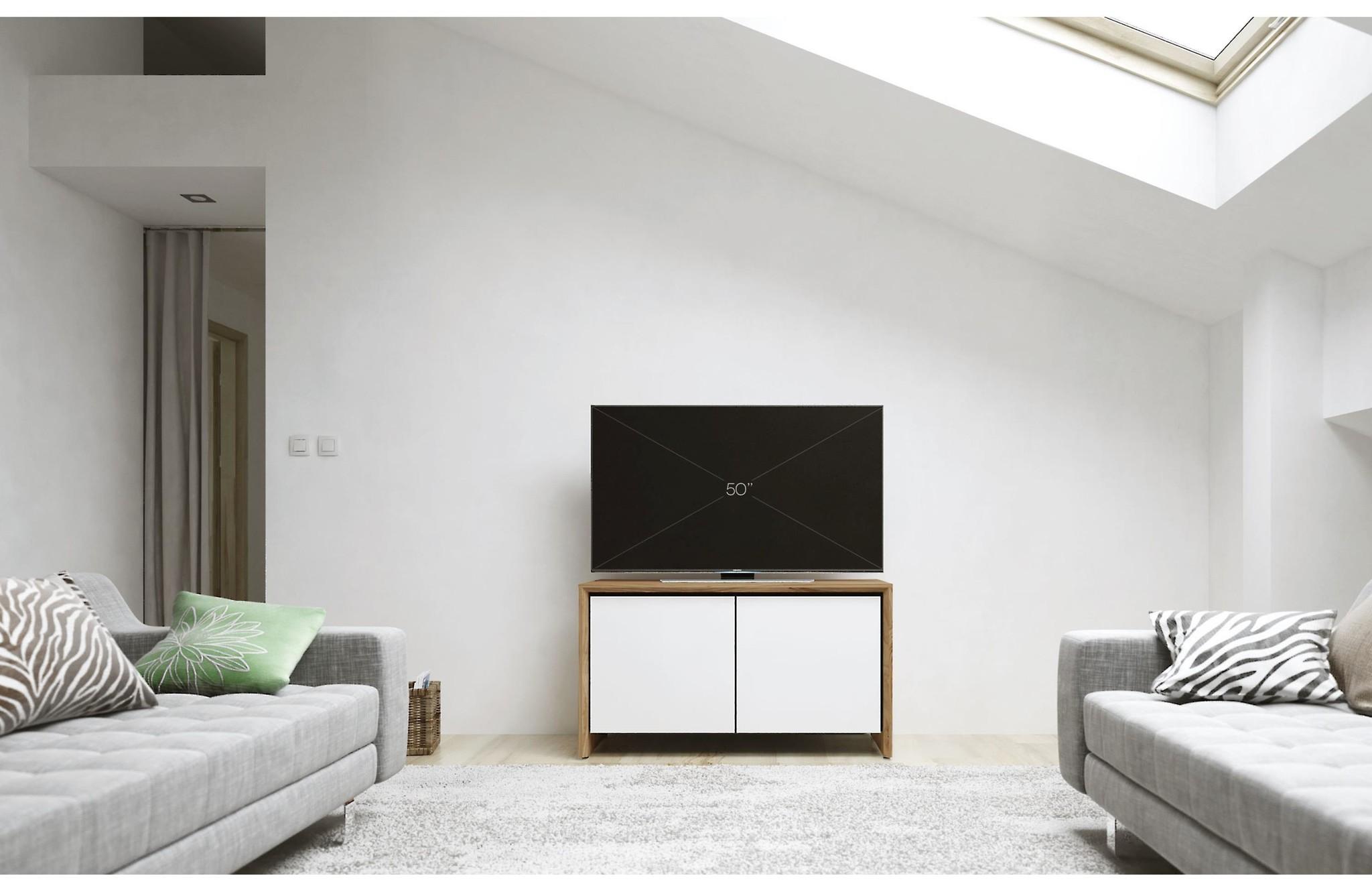 Salamander Designs Barcelona 221 AV Cabinet, Natural Walnut & Gloss White