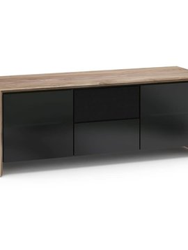 Salamander Designs Barcelona 236, AV Cabinet, Natural Walnut / Black Glass