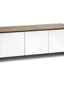 Salamander Designs Barcelona 237, AV Cabinet, Natural Walnut/Gloss White