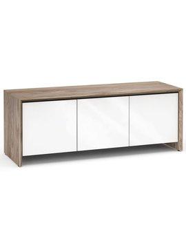Salamander Designs Barcelona 237, AV Cabinet, Natural Walnut/Gloss White