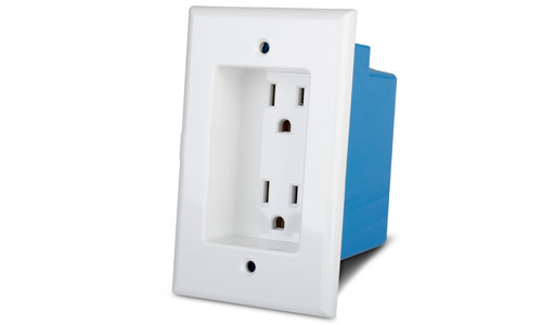 Wattbox Recessed Duplex Receptacle with Wall-plate & Single Gang Box , WB-100IW-2-WHT