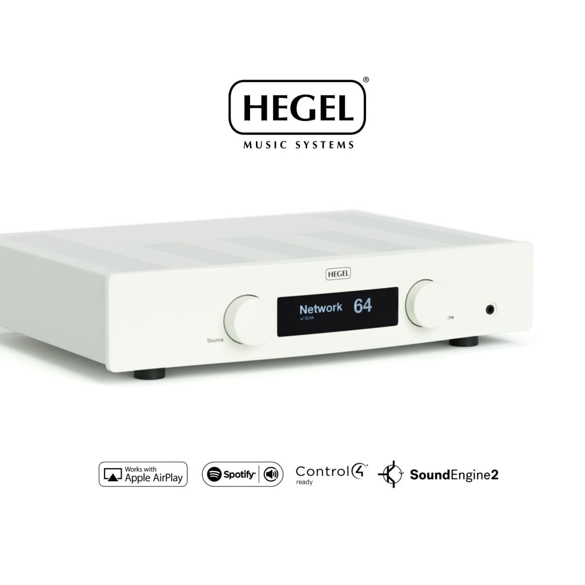 Hegel H120 Integrated Amplifier, Airplay/DLNA Stream, White