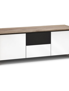 Salamander Designs Barcelona 236, AV Cabinet, Natural Walnut/Gloss White