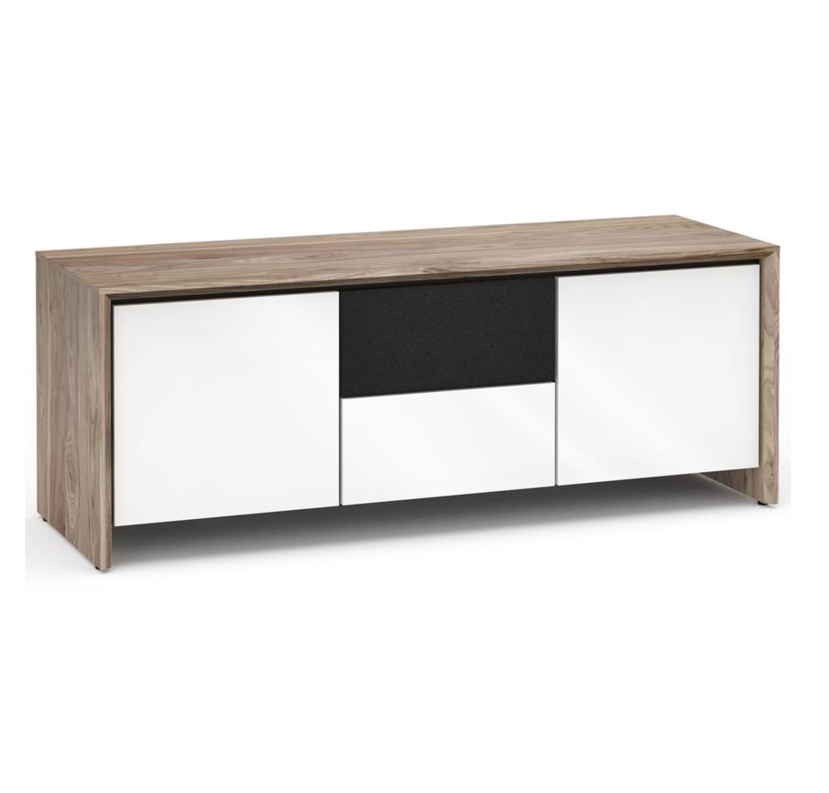 Salamander Designs Barcelona 236, AV Cabinet, Natural Walnut/Gloss White
