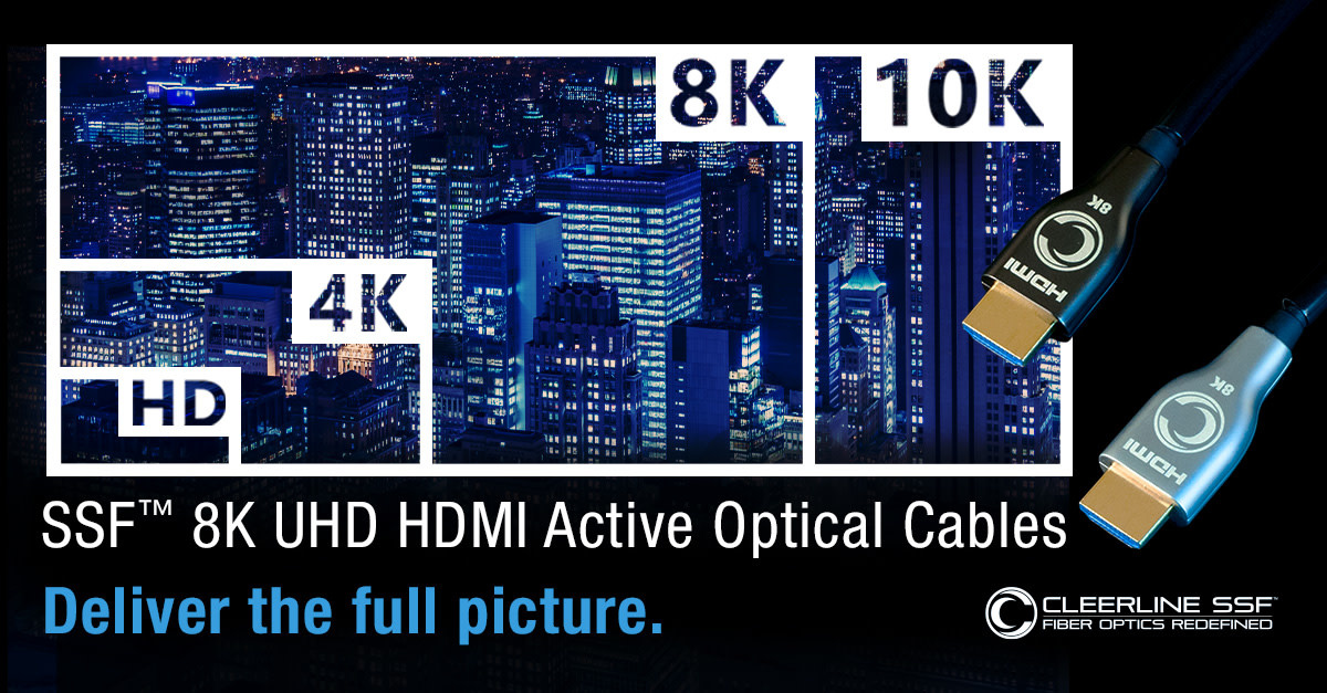 Cleerline SSF 8K UHD HDMI Active Optical Cables