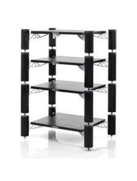 Solid Tech Hybrid Rack with 4 Black Shelves & Black Consoles