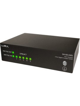 Luxul POE+ Powered 5 Port Gigabit Compact Switch, SW-100-05PD