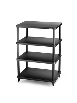 "SolidSteel 4 Shelf Audio Rack 34.8"" Black"