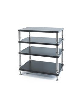 """SolidSteel HY-4L Four Shelf Wide Rack 34.4"""" Flat Black"""