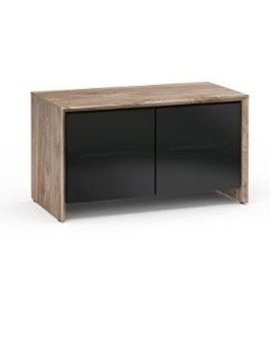 Salamander Designs Barcelona 221, AV Cabinet, Natural Walnut & Black Glass