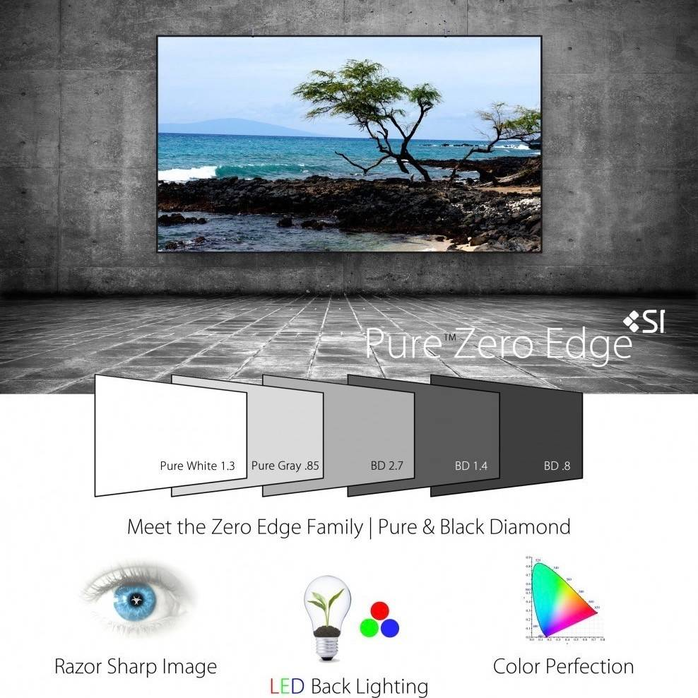 "Screen Innovations SI 5 Series 120"" Zero Edge Short Throw Screen with LED Kit"