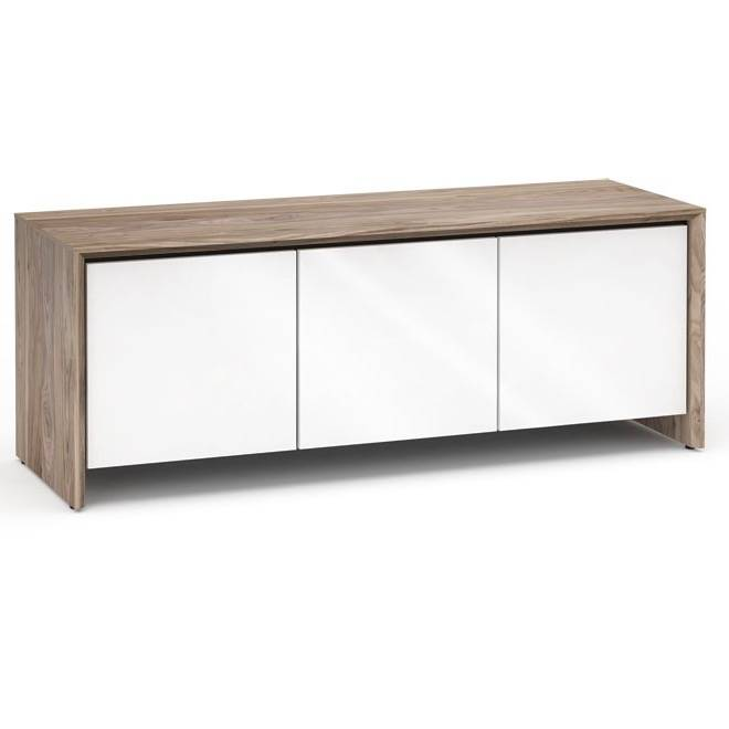 Salamander Designs Barcelona 237, AV Cabinet, Natural Walnut/Black Glass