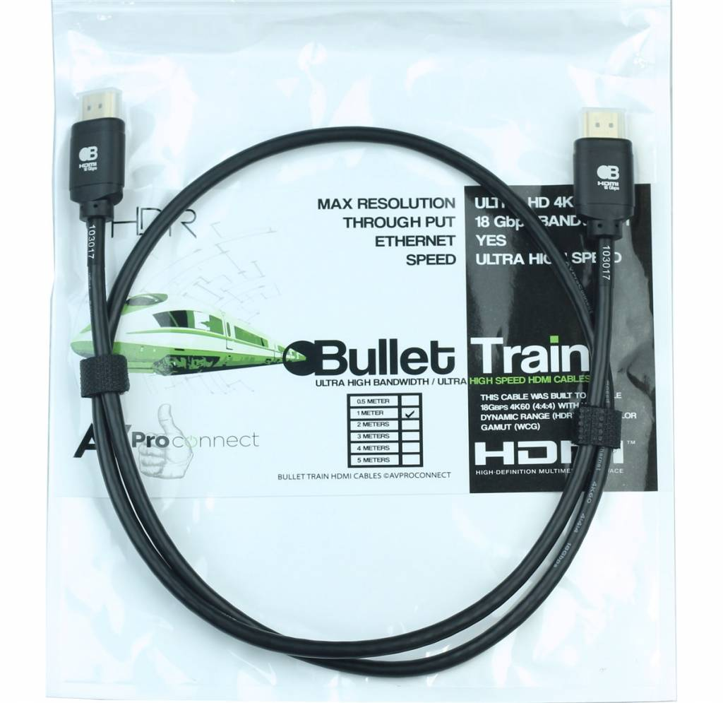 AVPro Edge Bullet Train Ultra HD 4K 60Hz 18Gbps HDMI Jumper Cable