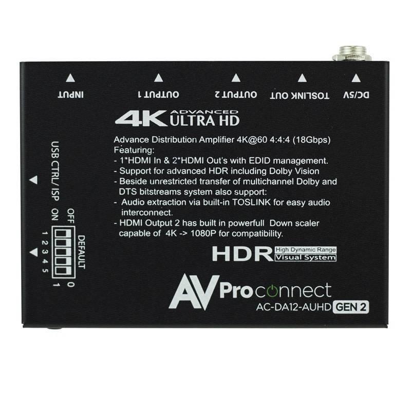 AVPro Edge 4K 1 x 2 HDMI AUHD Distribution Amplifier