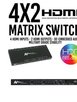 AVPro Edge True 4K 4 x 2 Hdmi Matrix Switch