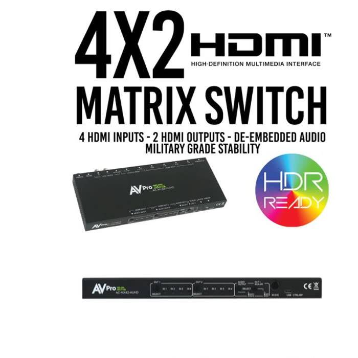 AV Pro Edge True 4K 4 x 2 Hdmi Matrix Switch