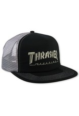 Thrasher Thrasher Embroidered Logo Mesh Snapback Cap Black/Gray