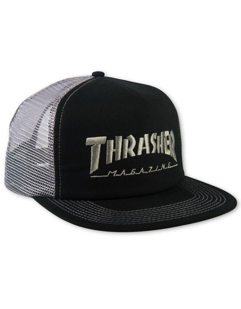 Thrasher Thrasher Embroidered Logo Mesh Snapback Cap Black/Gray