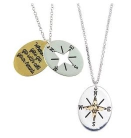 World End Imports Compass Cut Out Necklace Jewelry