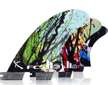 FCS FCS II MB PC Carbon Tri Set Small Graphic Mayhem Matt Biolos Thruster Surfboard Fins