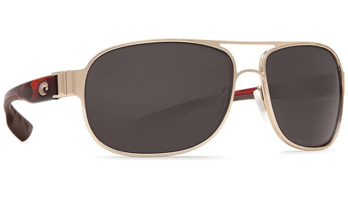 COSTA Costa Del Mar Conch Rose Gold With Light Tortoise Temples Gray Polarized Plastic