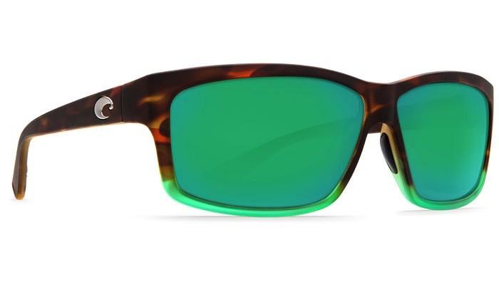 COSTA Costa Del Mar Matte Tortuga Fade Green Mirror Polarized Plastic Sunglasses