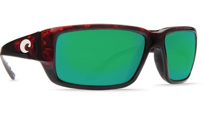 COSTA Costa Del Mar Fantail Tortoise Green Mirror Polarized Glass Sunglasses