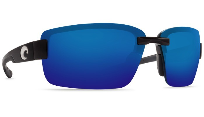 COSTA Costa Del Mar Galveston Sunglasses Matte Black Blue Mirror Polarized Plastic