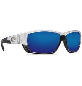 COSTA Costa Del Mar Tuna Alley Sunglasses Shiny Crystal Blue Mirror Polarized Plastic