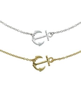 World End Imports Sideways Anchor Necklace Jewelry