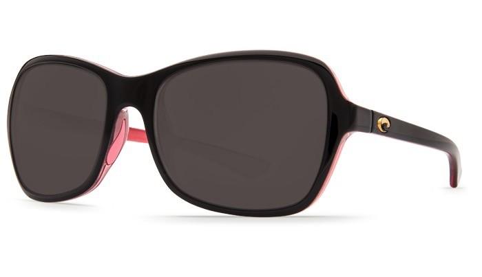 COSTA Costa Del Mar Kare Shiny Black Hibiscus Gray 580P Sunglasses