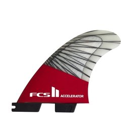 FCS FCS II Accelerator PC Carbon Red Mood Small Thruster Surfboard Fins 2017