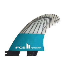 FCS FCS II Performer PC Carbon Teal Medium Thruster Surfboard Fins