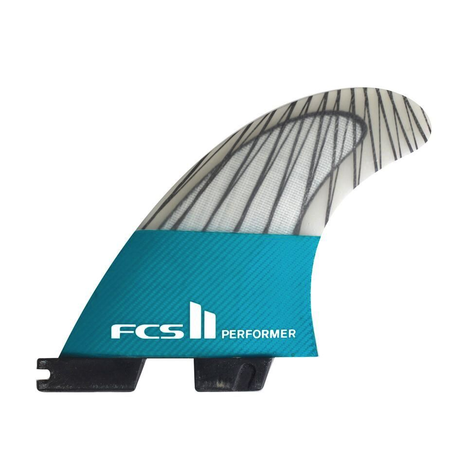 FCS FCS II Performer PC Carbon Teal Small Thruster Surfboard Fins 2017