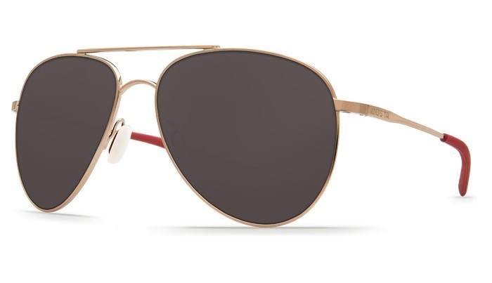 COSTA Costa Del Mar Cook Rose Gold Frame Gray Lens Polarized 580P Sunglasses