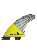 FCS FCS II Carver PC Carbon Yellow Medium Tri Set Thruster Surfboard Fins