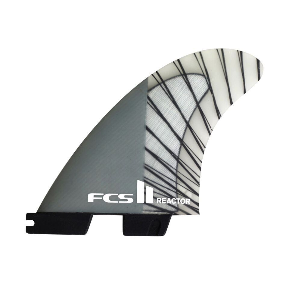 FCS FCS II Reactor PC Carbon Charcoal Small Thruster Surfboard Fins 2017